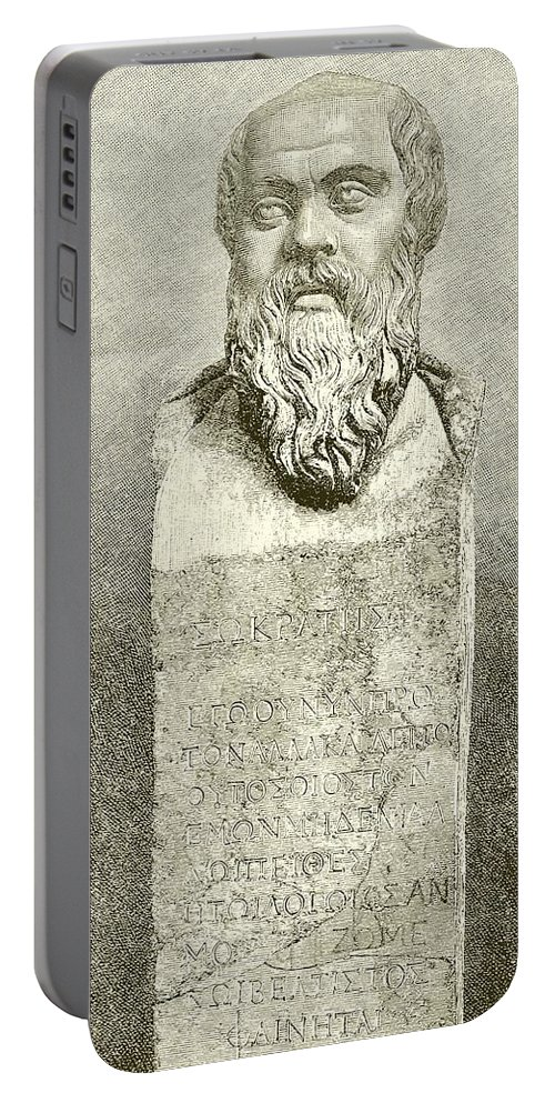 Ancient; Greece; Greek; Socrates; Socrates Portable Battery Charger featuring the drawing Socrates by English School