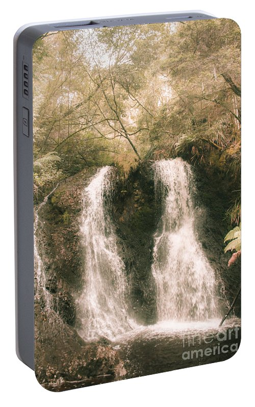 Waterfall Portable Battery Charger featuring the photograph Soft Vintage Forest Waterfall In Tasmania by Jorgo Photography - Wall Art Gallery