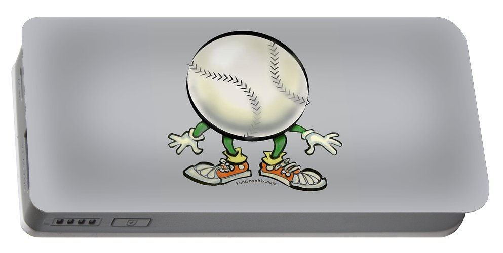 Softball Portable Battery Charger featuring the digital art Softball by Kevin Middleton