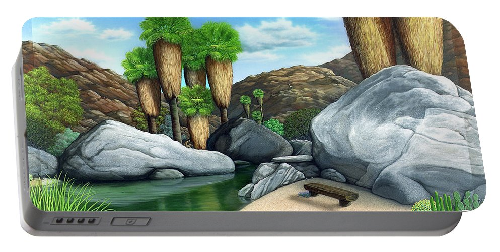 Desert Portable Battery Charger featuring the painting Springtime In The Canyons by Snake Jagger