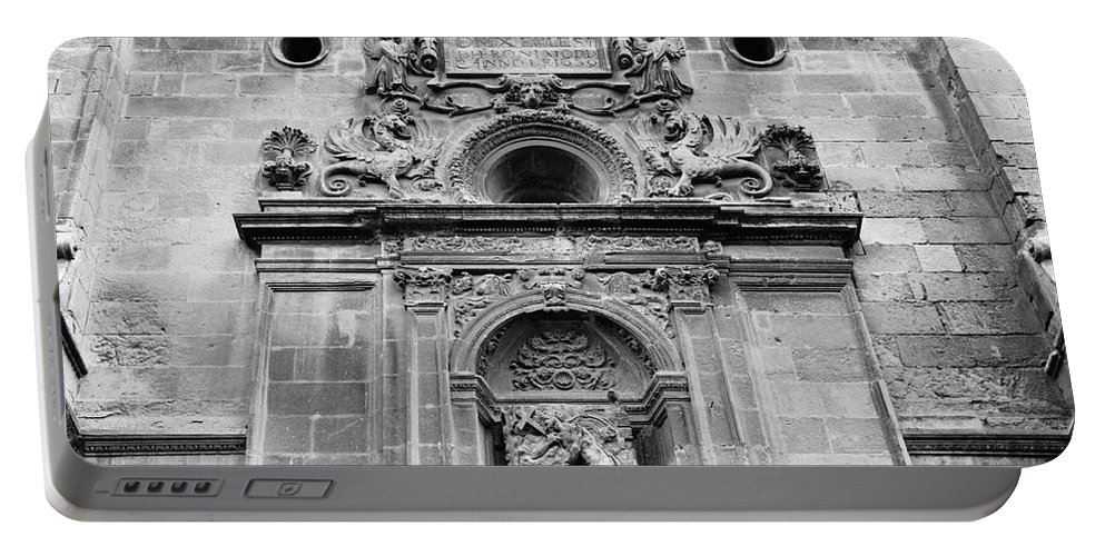 Monochrome Portable Battery Charger featuring the photograph St Jeronimo Door Granada Cathedral by Guido Montanes Castillo