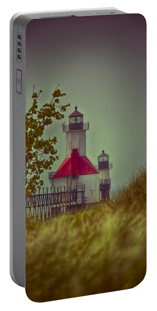 North Pier Portable Battery Charger featuring the photograph St. Joseph North Pier Lighthouse Lake Michigan. by Jack R Perry