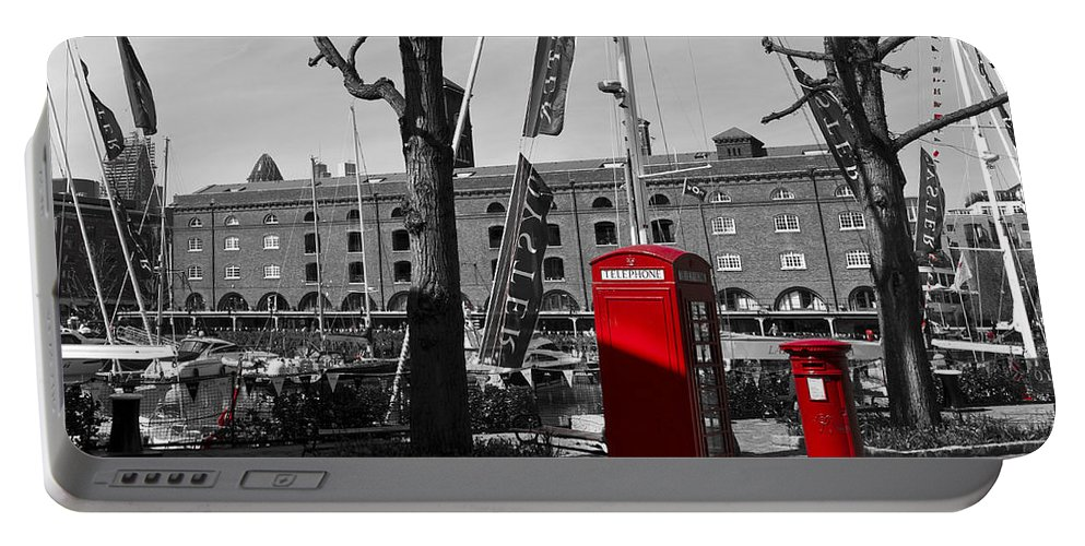 Red Portable Battery Charger featuring the photograph St Katherine's Dock by David Pyatt