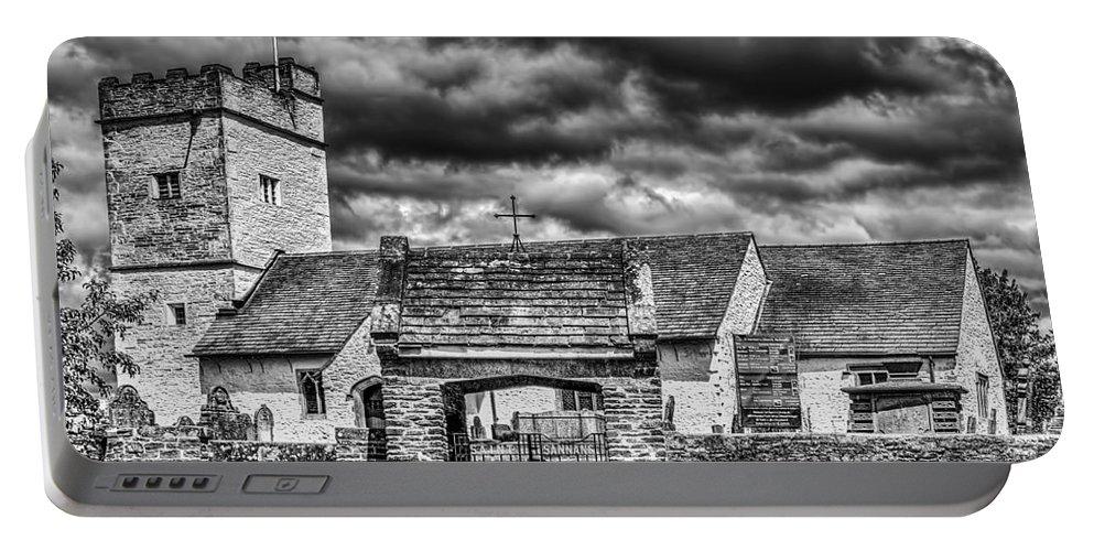 St Sannans Church Portable Battery Charger featuring the photograph St Sannans Church Bedwellty Mono by Steve Purnell