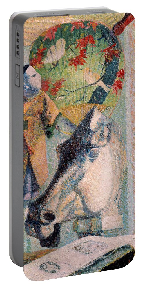 Paul Gauguin Portable Battery Charger featuring the painting Still Life With Horse's Head by Paul Gauguin