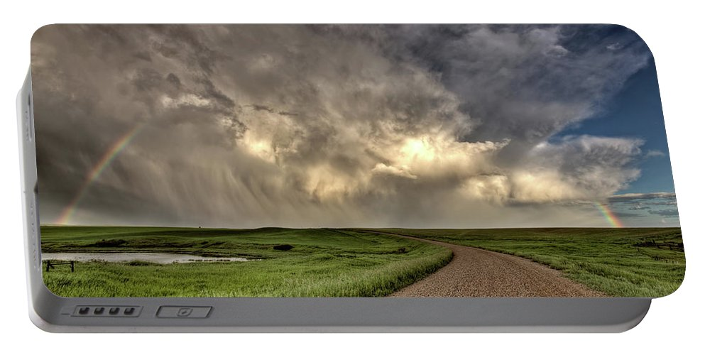 Nature Portable Battery Charger featuring the digital art Storm Clouds Prairie Sky Saskatchewan by Mark Duffy