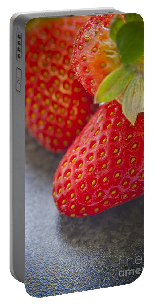 Macro Portable Battery Charger featuring the photograph Strawberries by Tim Hester