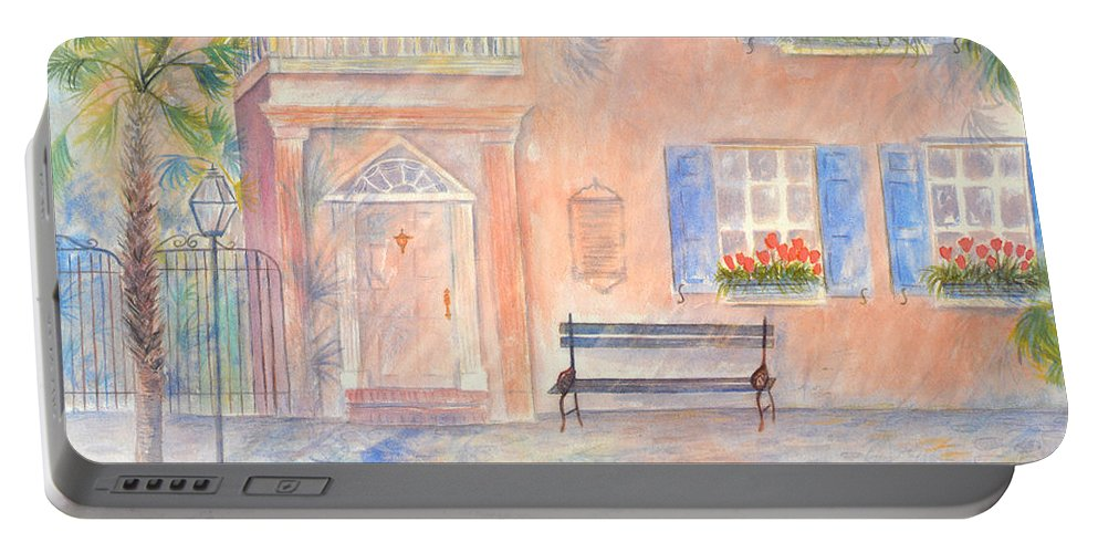 Charleston Portable Battery Charger featuring the painting Sunday Morning in Charleston by Ben Kiger