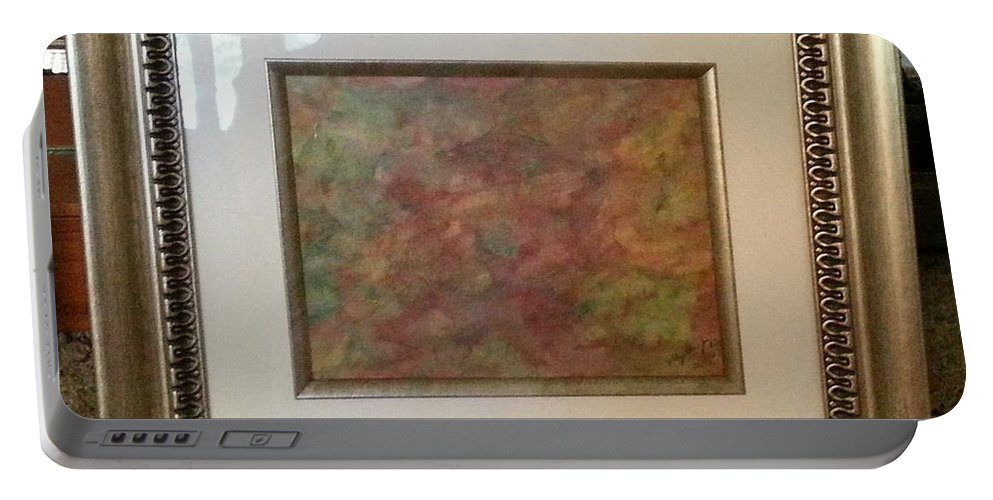Framed Picture Portable Battery Charger featuring the painting Sunday Morning by Myrtle Joy