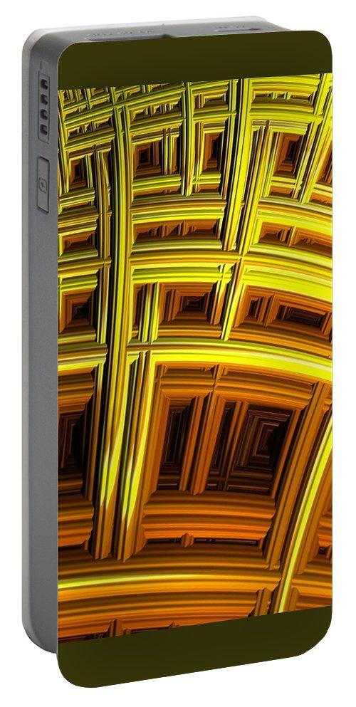 sunflower Abstract fractal Art abstract Art flower Design women's Fashion girl's Fashion Fashion fashion Design Digital Art Portable Battery Charger featuring the photograph Sunflower Abstract by Bill Owen