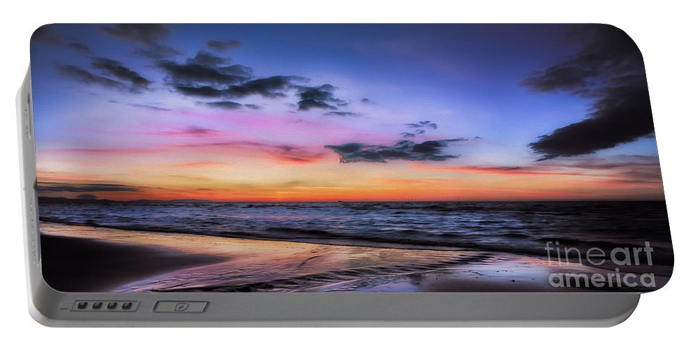 British Portable Battery Charger featuring the photograph Sunset Seascape by Adrian Evans