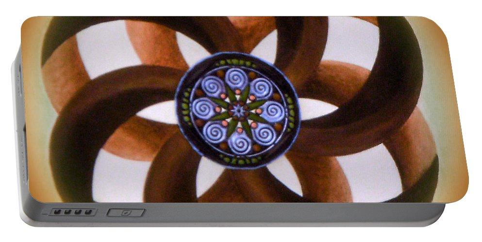 Mandala Paintings Portable Battery Charger featuring the painting Synergy Mandala 2 by Maya B