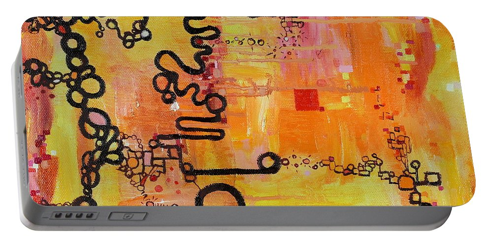 Tadpole Diagram Portable Battery Charger featuring the painting Tadpole Diagrams At Play by Regina Valluzzi