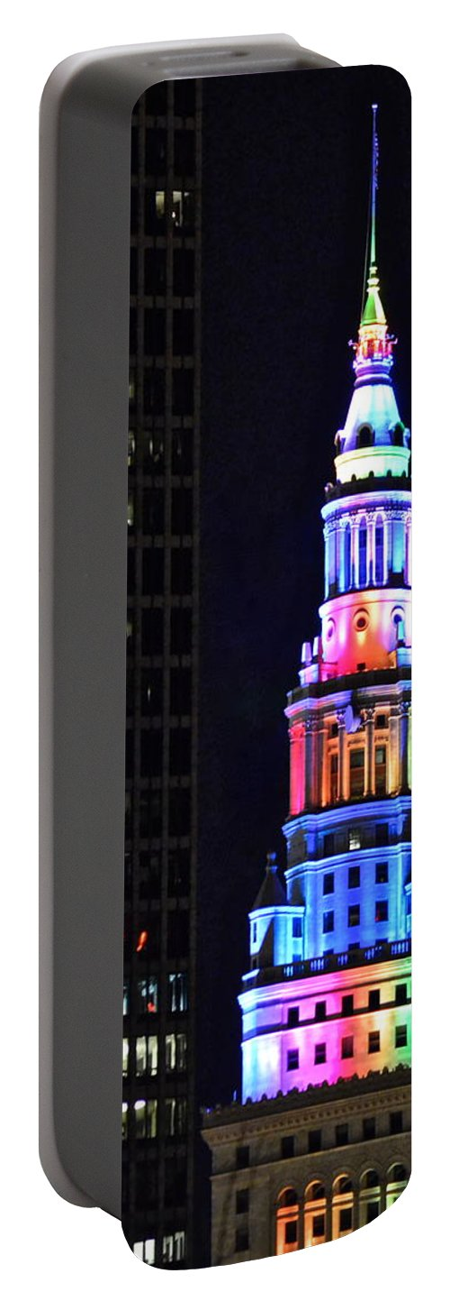 Terminal Portable Battery Charger featuring the photograph Terminal Tower Rainbow by Frozen in Time Fine Art Photography