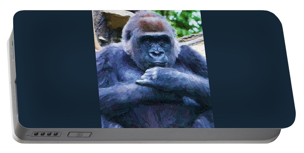 Gorilla Portable Battery Charger featuring the photograph That Look by Alice Gipson