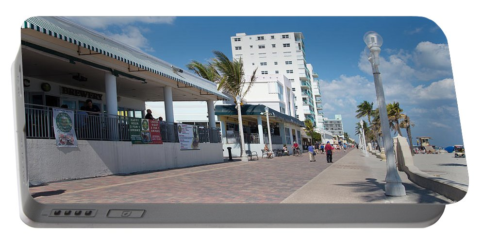 Beach Portable Battery Charger featuring the digital art The Beach In Hollywood Florida by Carol Ailles