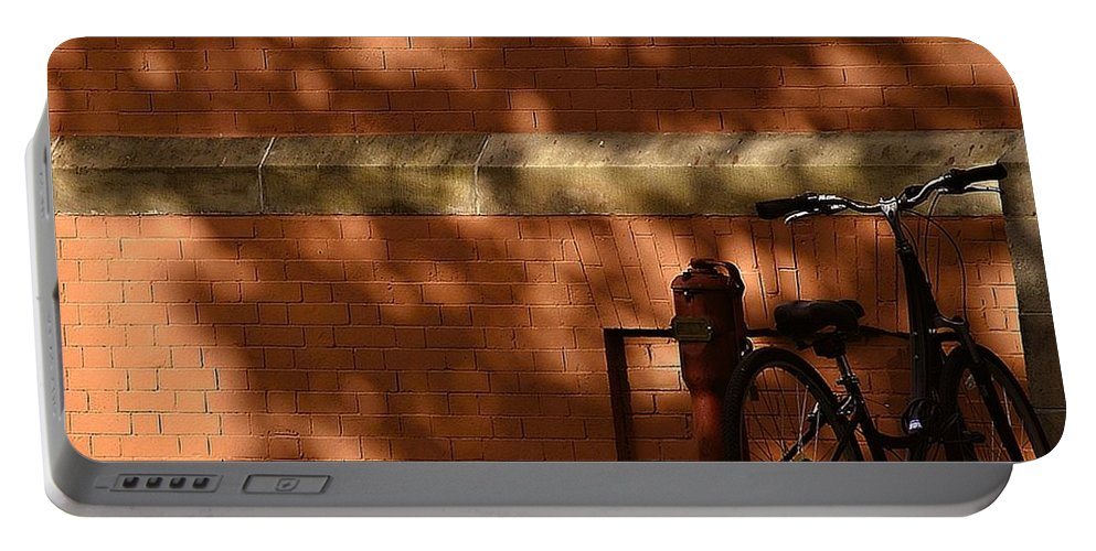 Bowdoin College Portable Battery Charger featuring the photograph The Bike by Marysue Ryan