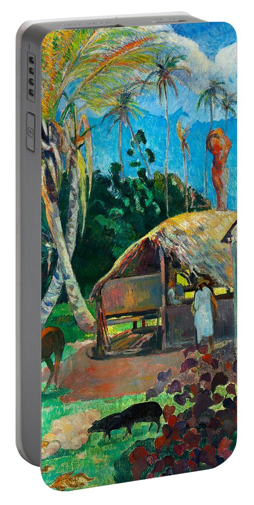 Paul Gauguin Portable Battery Charger featuring the painting The Black Pigs by Paul Gauguin