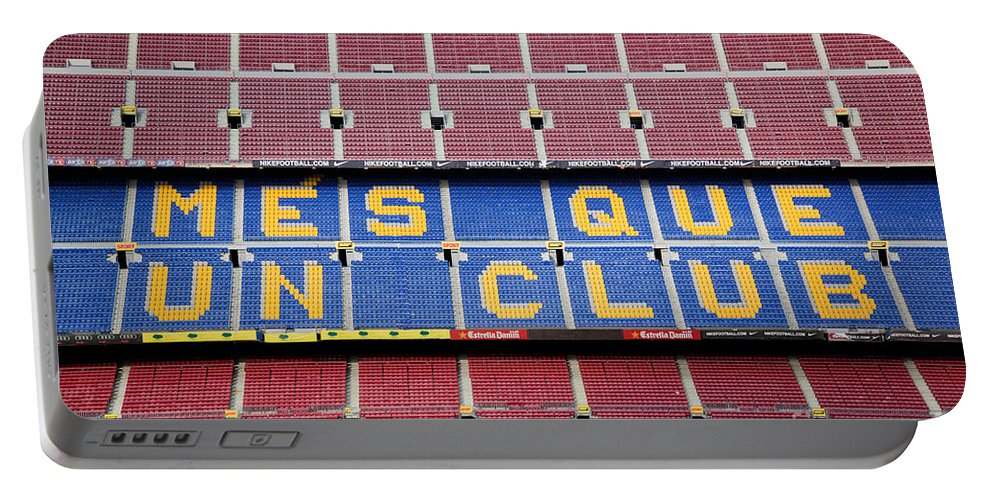 Camp Portable Battery Charger featuring the photograph The Camp Nou Stadium In Barcelona by Michal Bednarek