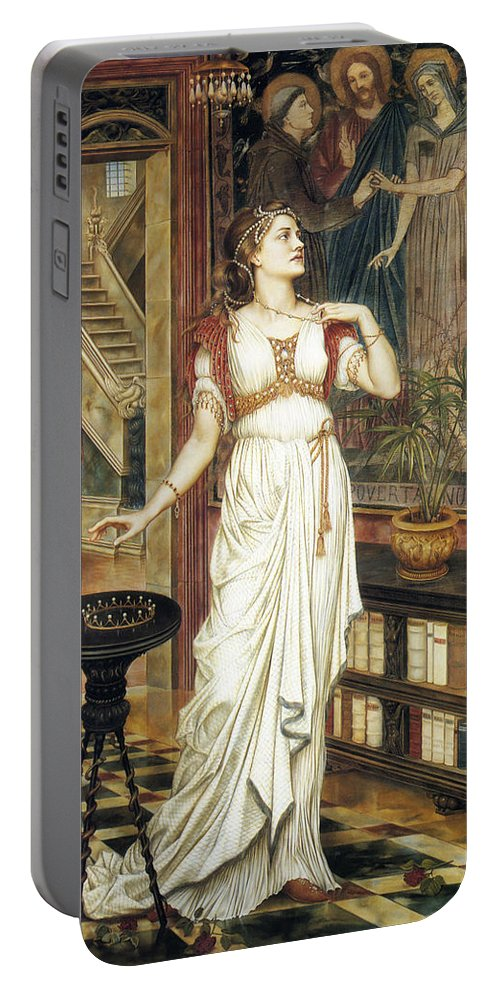 Evelyn De Morgan Portable Battery Charger featuring the painting The Crown Of Glory by Evelyn De Morgan