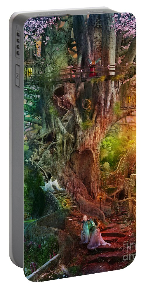 Aimee Stewart Portable Battery Charger featuring the digital art The Dreaming Tree by MGL Meiklejohn Graphics Licensing
