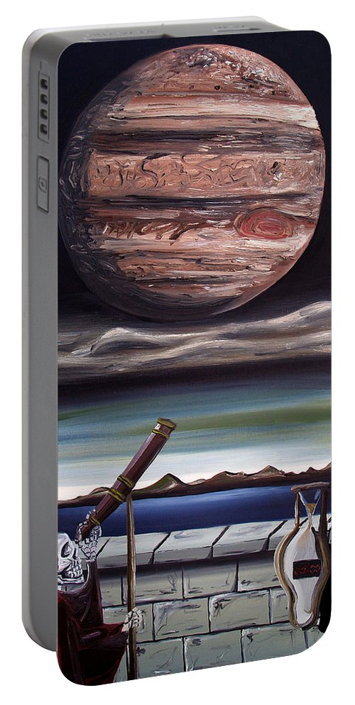 Surreal Portable Battery Charger featuring the painting The Eternal Staring Contest by Ryan Demaree