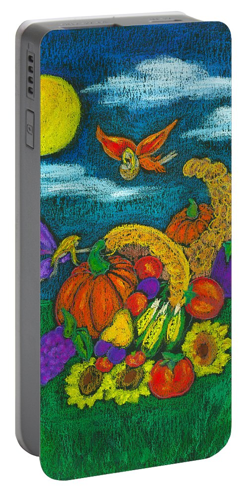 Faery Shaman Portable Battery Charger featuring the pastel The Harvest by Diana Haronis