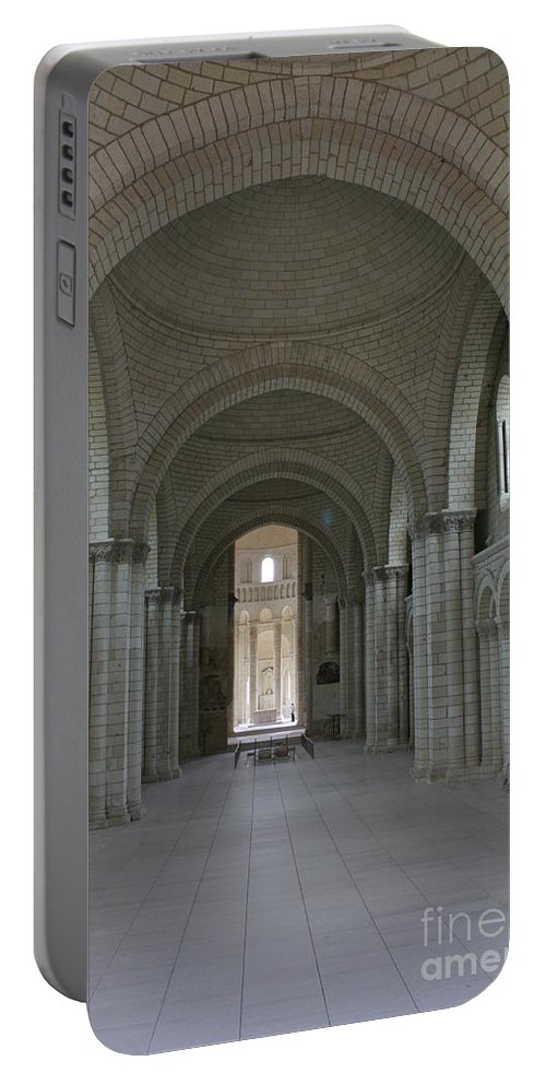 Nave Portable Battery Charger featuring the photograph The Nave - Cloister Fontevraud by Christiane Schulze Art And Photography