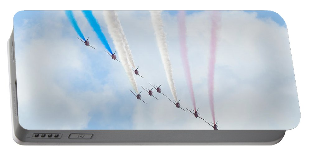 Plane Portable Battery Charger featuring the photograph The Red Arrows by Dutourdumonde Photography