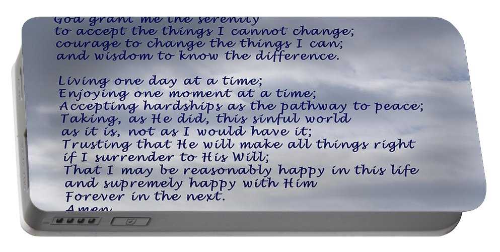 Barbara Snyder Portable Battery Charger featuring the digital art The Serenity Prayer by Barbara Snyder