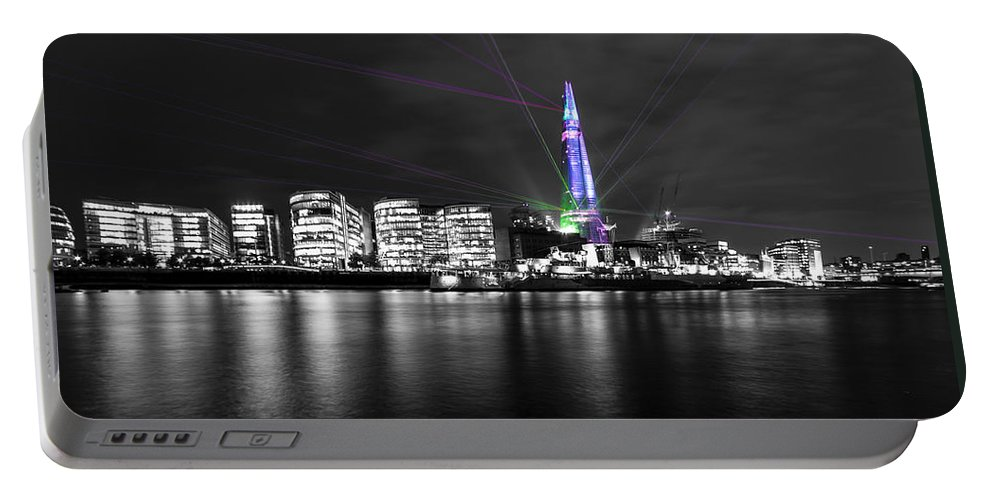 City Skyline Portable Battery Charger featuring the photograph The Shard Lasers by Dawn OConnor