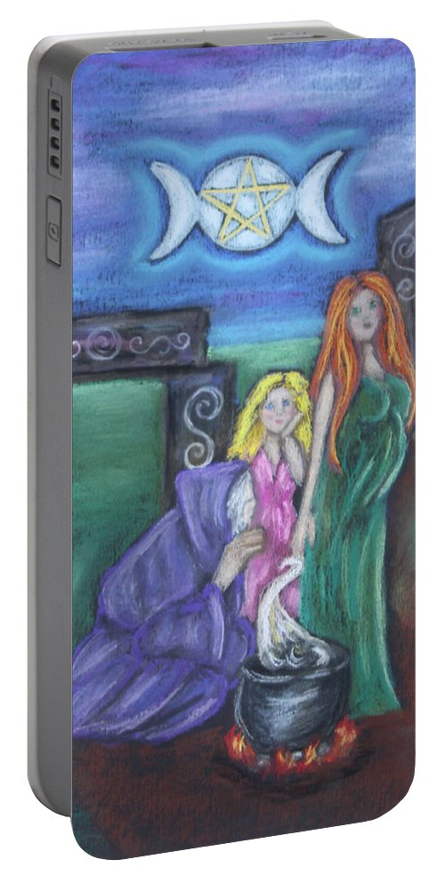 Faery Portable Battery Charger featuring the pastel The Silvery Moon by Diana Haronis