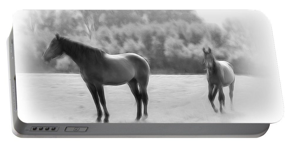Stallion Mare Foal Digital Art Black White Expressionism Impressionism Animal Portable Battery Charger featuring the digital art The Stallion by Steve K