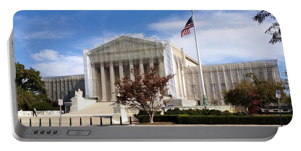 Supreme Court Portable Battery Charger featuring the photograph The Supreme Court Facade by Lois Ivancin Tavaf