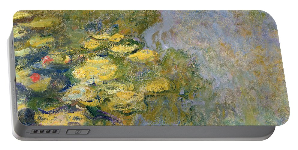 Impressionist Portable Battery Charger featuring the painting The Waterlily Pond by Claude Monet