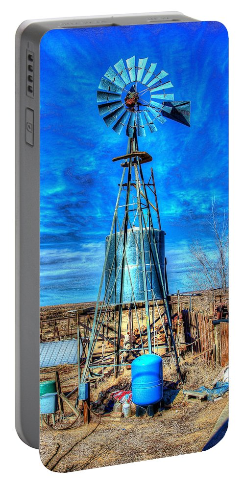 Oro Grande Portable Battery Charger featuring the photograph The Windmill by Richard J Cassato
