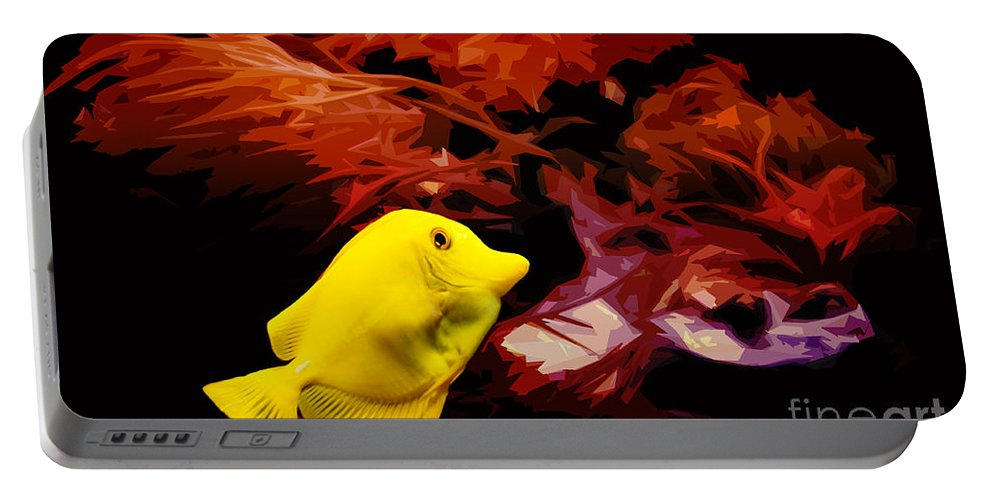 Yellow Tang Fish Portable Battery Charger featuring the photograph The Yellow Queen by Nishanth Gopinathan