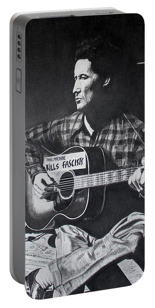 Black And White Portable Battery Charger featuring the drawing This Machine Kills Fascists by Charles Rogers