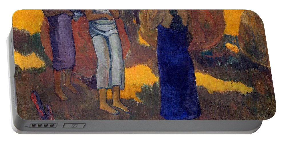 Paul Gauguin Portable Battery Charger featuring the painting Three Tahitian Women Against A Yellow Background by Paul Gauguin