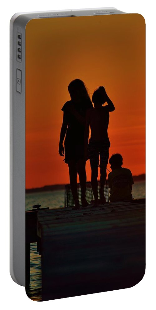 Beach Bum Pics Photographs Portable Battery Charger featuring the photograph Time With Friends by William Bartholomew