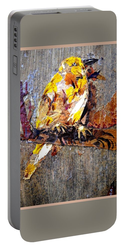 Bird Portable Battery Charger featuring the mixed media Tired Bird by Basant Soni
