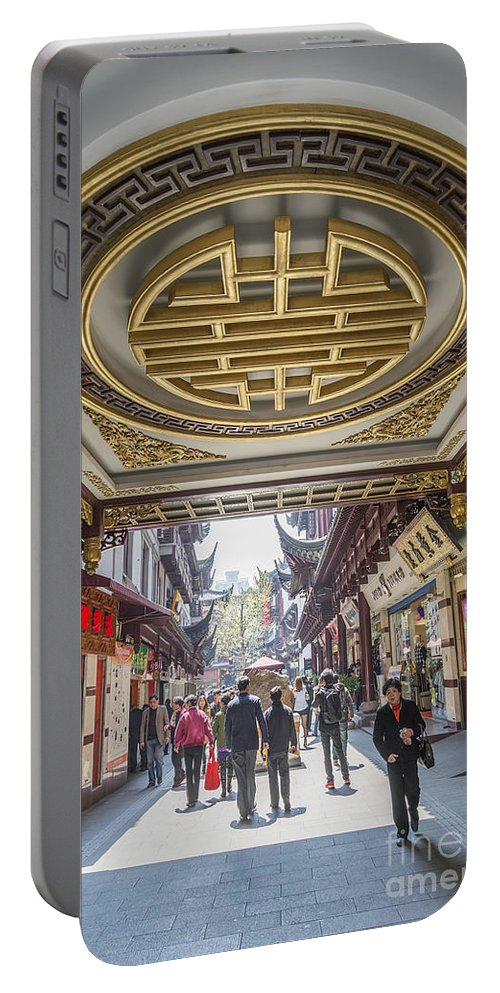 Architecture Portable Battery Charger featuring the photograph Traditional Shopping Area In Shanghai China by Jacek Malipan