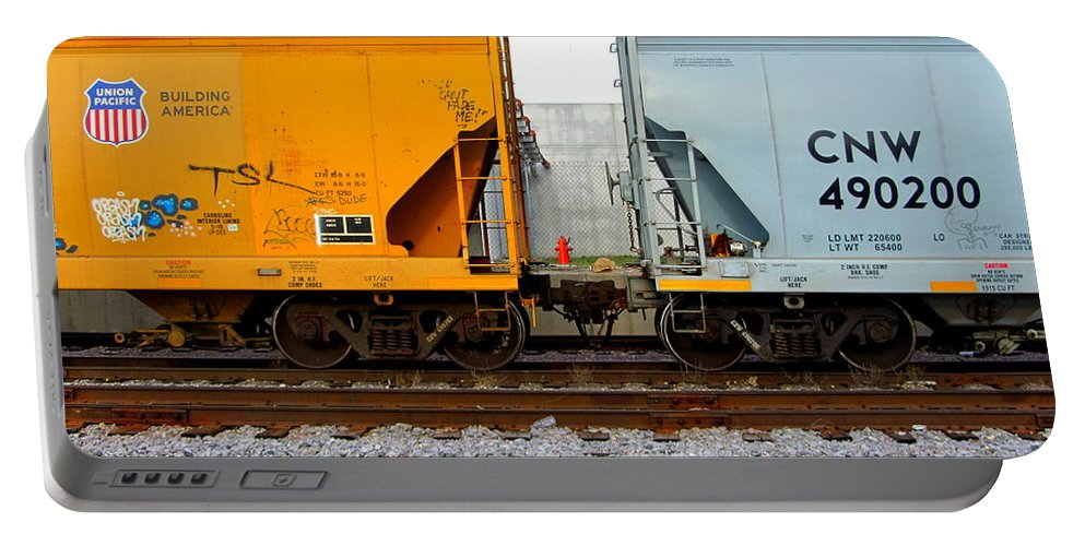 Train Portable Battery Charger featuring the photograph Train Cars 2 by Anita Burgermeister