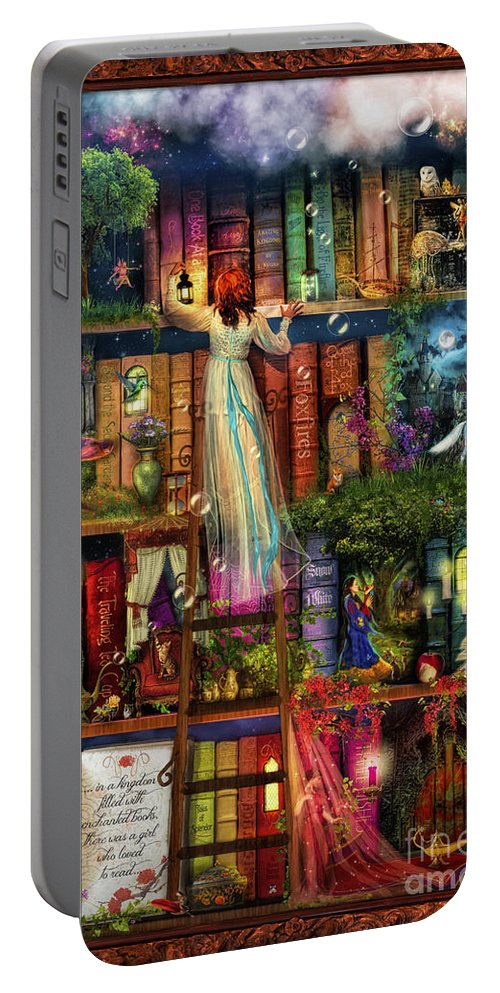 Aimee Stewart Portable Battery Charger featuring the digital art Treasure Hunt Book Shelf by MGL Meiklejohn Graphics Licensing