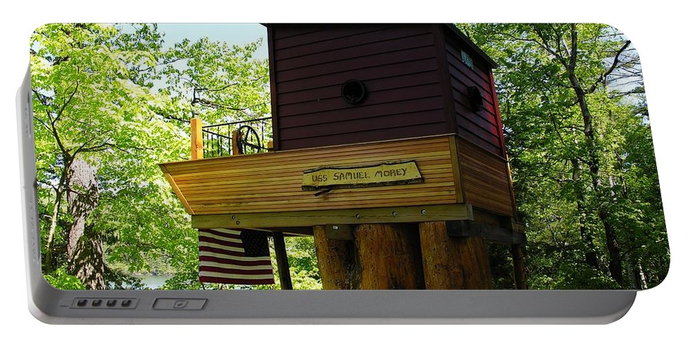 Tree House Portable Battery Charger featuring the photograph Tree House Boat 3 by Sherman Perry