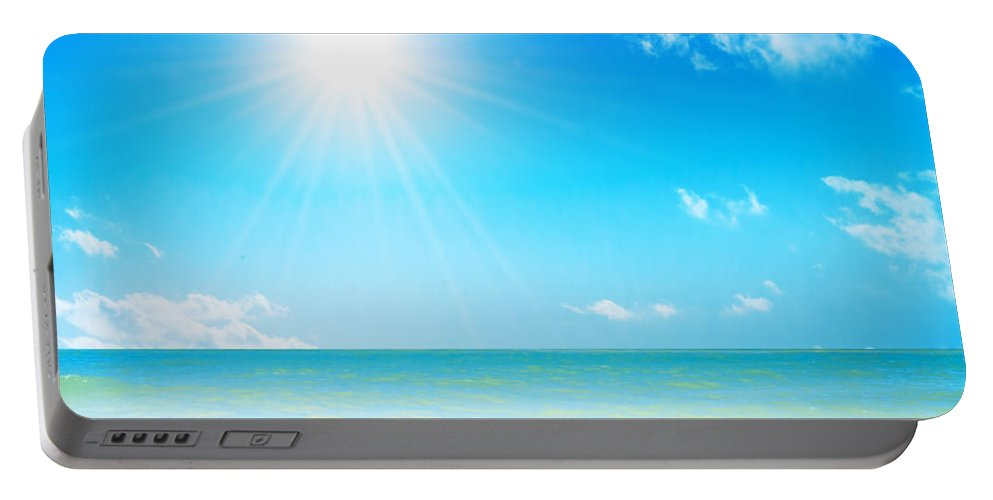 Background Portable Battery Charger featuring the photograph Tropical Beach by Michal Bednarek