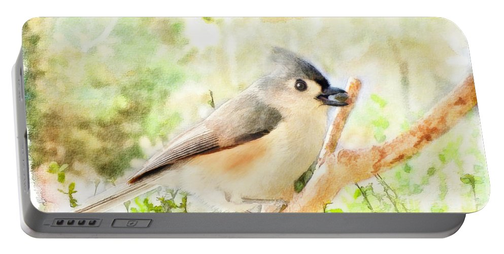 Bird Portable Battery Charger featuring the photograph Tufted Titmouse With Seed - Digital Paint by Debbie Portwood