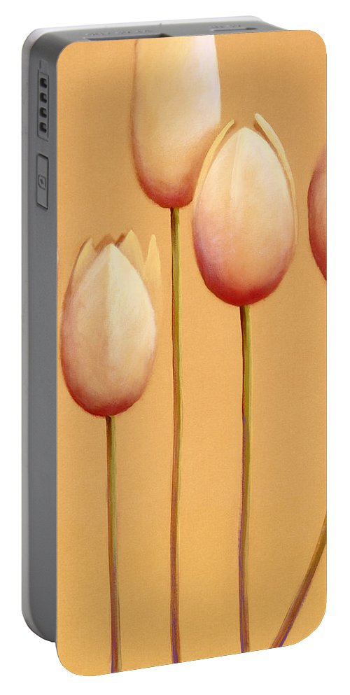 Portable Battery Charger featuring the painting Tulips Are People X by Jerome Lawrence