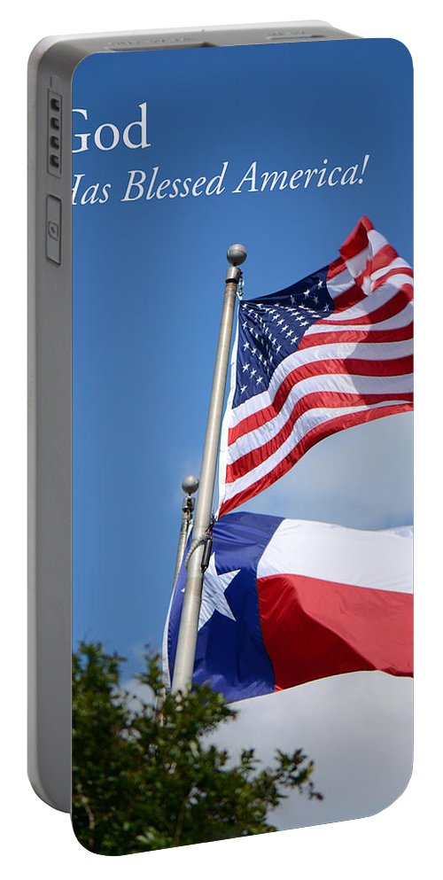 American Flag Portable Battery Charger featuring the photograph God Has Blessed America by Connie Fox
