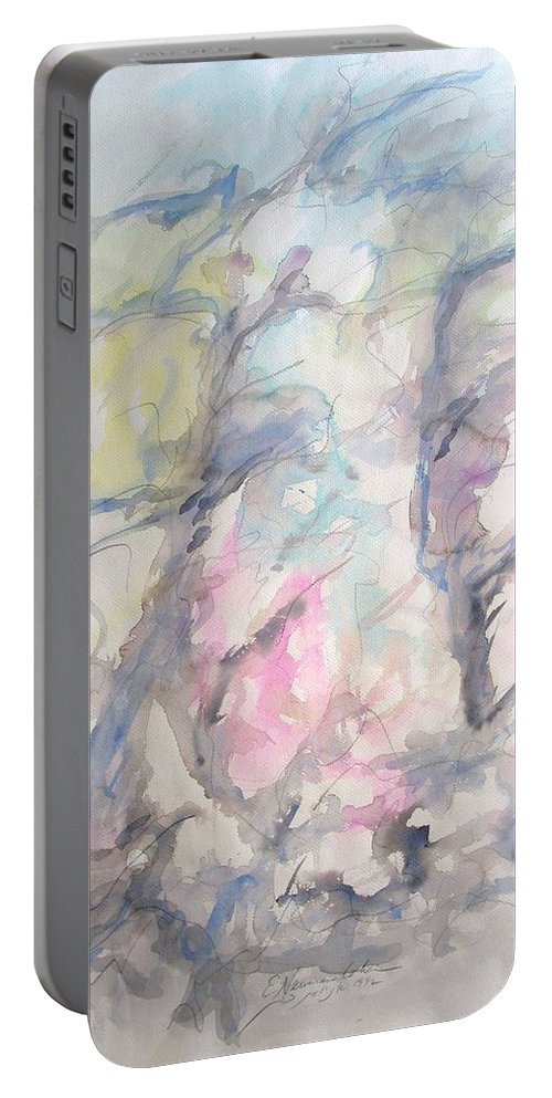 Two Trees In The Wind Portable Battery Charger featuring the painting Two Trees In The Wind by Esther Newman-Cohen